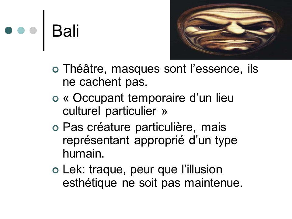 Bali Théâtre, masques sont lessence, ils ne cachent pas. « Occupant temporaire dun lieu culturel particulier » Pas créature particulière, mais représe