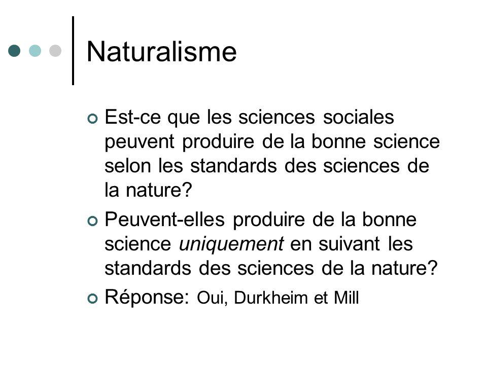 Naturalisme Est-ce que les sciences sociales peuvent produire de la bonne science selon les standards des sciences de la nature? Peuvent-elles produir