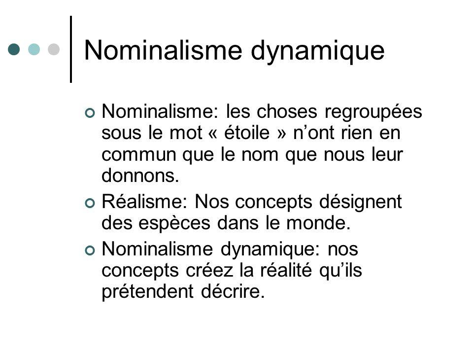 Nominalisme dynamique Nominalisme: les choses regroupées sous le mot « étoile » nont rien en commun que le nom que nous leur donnons. Réalisme: Nos co
