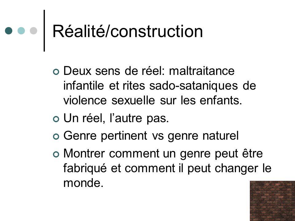 Réalité/construction Deux sens de réel: maltraitance infantile et rites sado-sataniques de violence sexuelle sur les enfants. Un réel, lautre pas. Gen