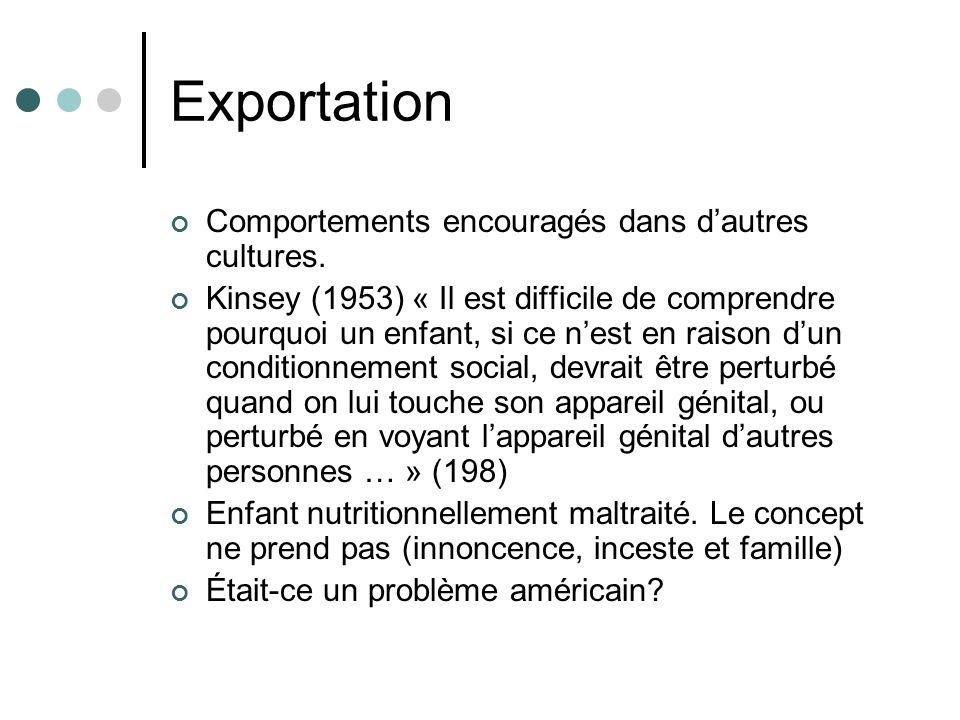 Exportation Comportements encouragés dans dautres cultures. Kinsey (1953) « Il est difficile de comprendre pourquoi un enfant, si ce nest en raison du
