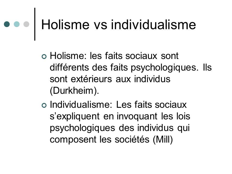 Holisme vs individualisme Holisme: les faits sociaux sont différents des faits psychologiques. Ils sont extérieurs aux individus (Durkheim). Individua