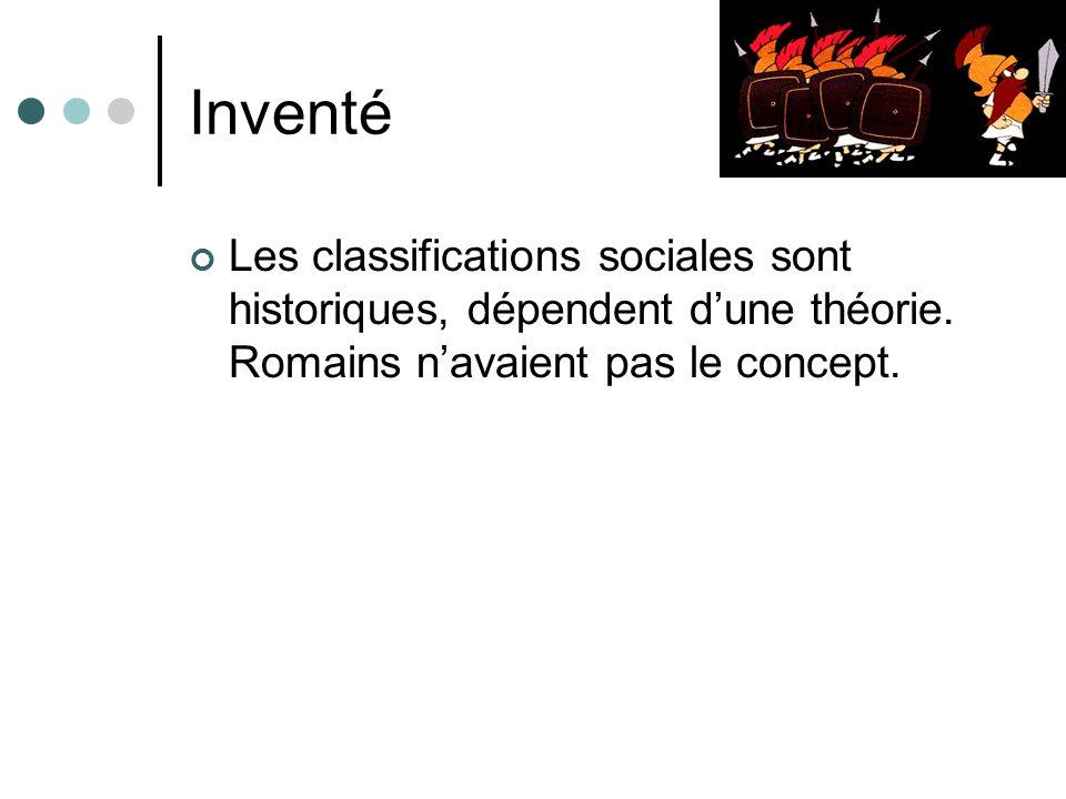 Inventé Les classifications sociales sont historiques, dépendent dune théorie. Romains navaient pas le concept.