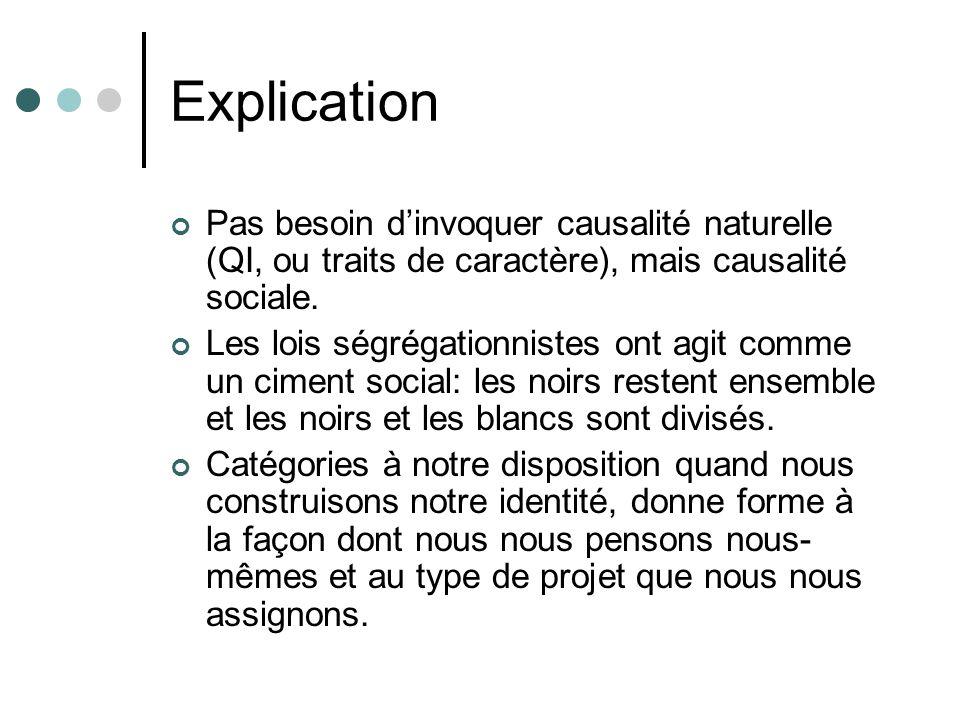 Explication Pas besoin dinvoquer causalité naturelle (QI, ou traits de caractère), mais causalité sociale. Les lois ségrégationnistes ont agit comme u