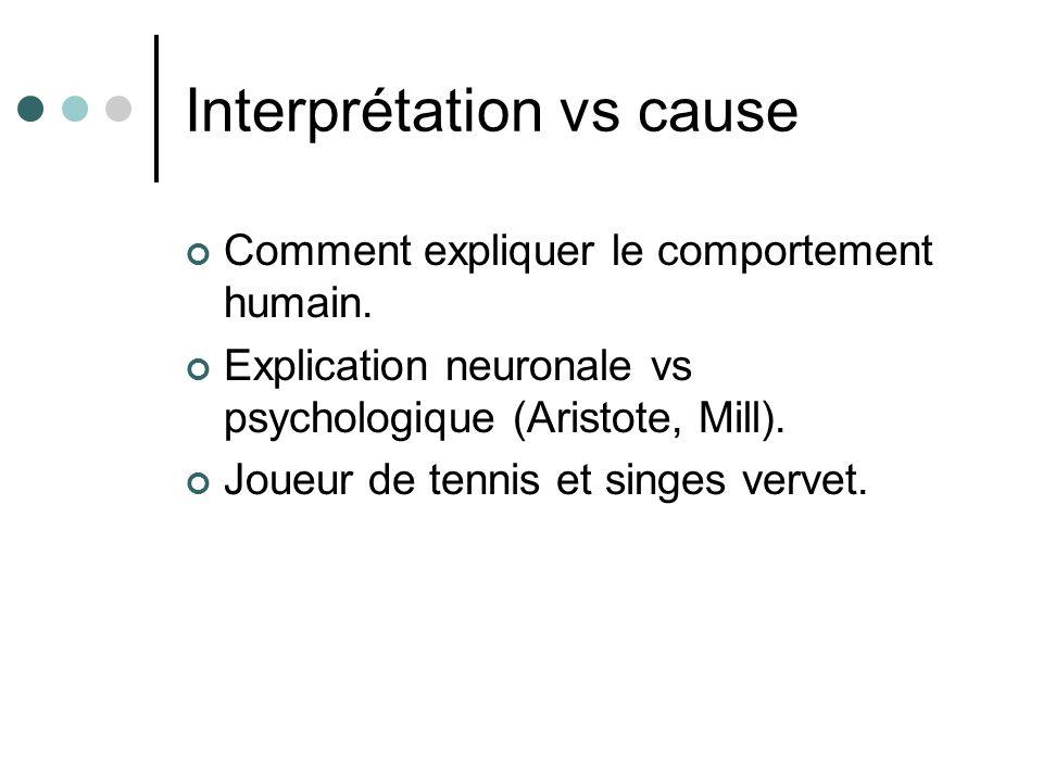 Interprétation vs cause Comment expliquer le comportement humain. Explication neuronale vs psychologique (Aristote, Mill). Joueur de tennis et singes