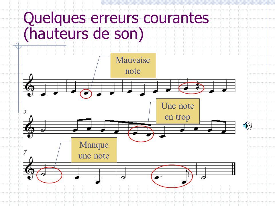 Quelques erreurs courantes (hauteurs de son) Mauvaise note Une note en trop Manque une note