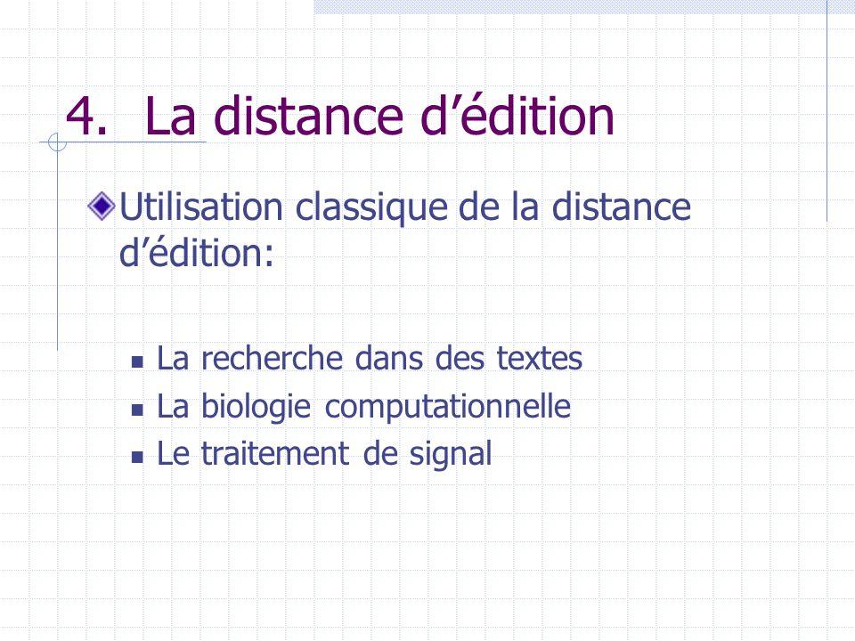 4.La distance dédition Utilisation classique de la distance dédition: La recherche dans des textes La biologie computationnelle Le traitement de signa