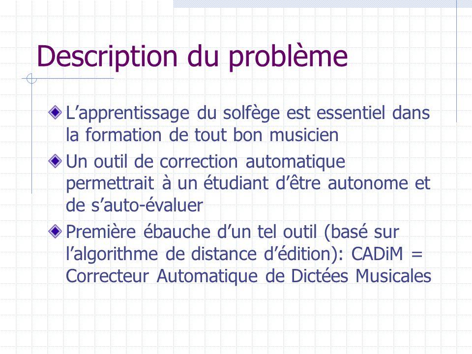 Description du problème Lapprentissage du solfège est essentiel dans la formation de tout bon musicien Un outil de correction automatique permettrait
