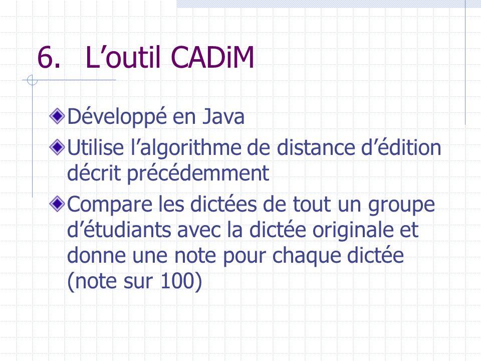 6.Loutil CADiM Développé en Java Utilise lalgorithme de distance dédition décrit précédemment Compare les dictées de tout un groupe détudiants avec la