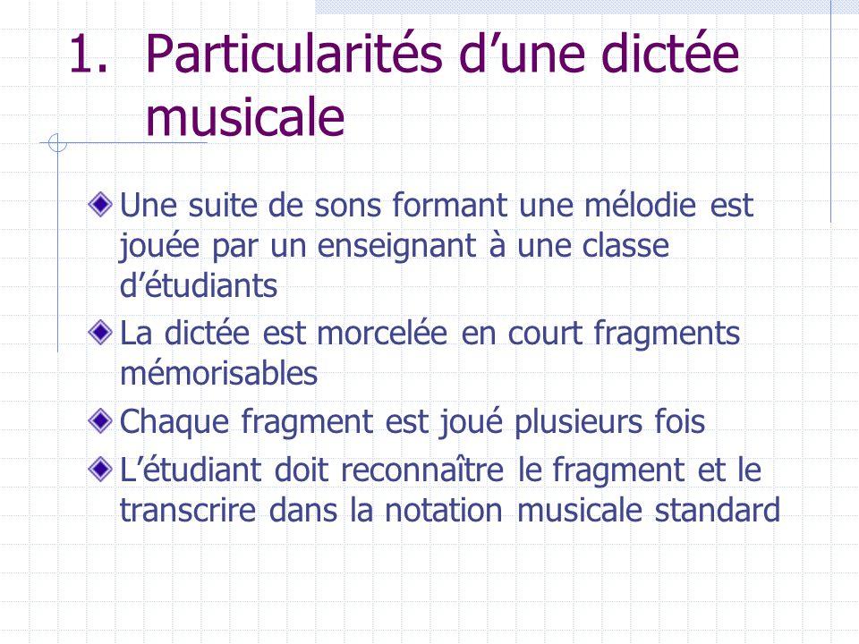 1.Particularités dune dictée musicale Une suite de sons formant une mélodie est jouée par un enseignant à une classe détudiants La dictée est morcelée