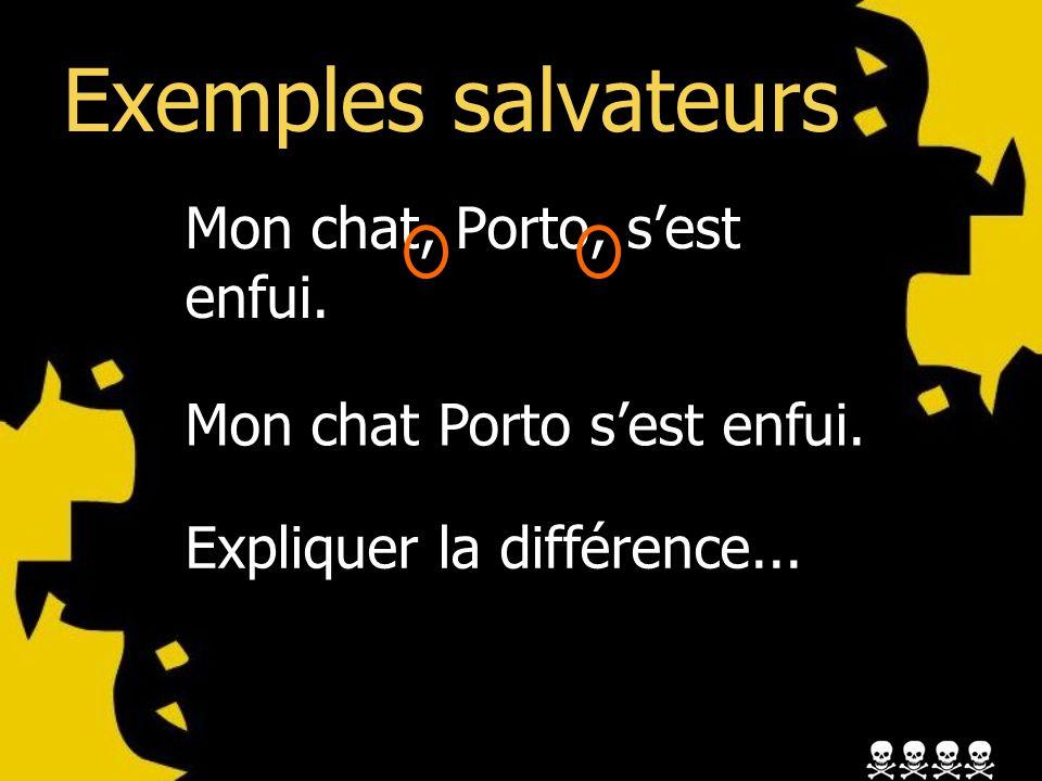 Exemples salvateurs Mon chat, Porto, sest enfui. Mon chat Porto sest enfui.