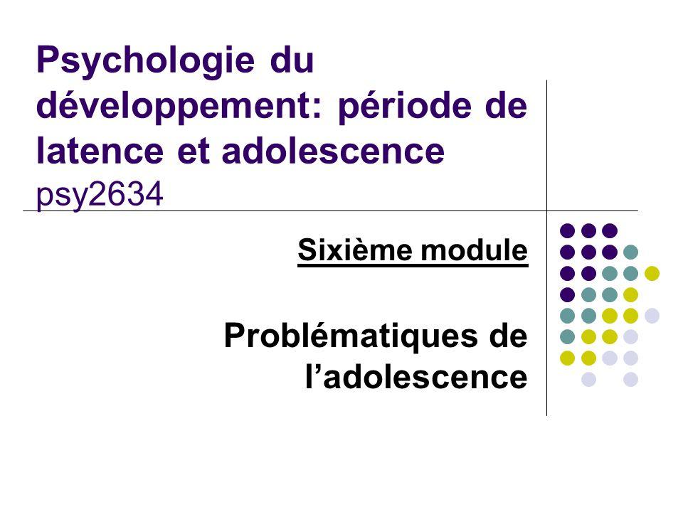 Sixième module Problématiques de ladolescence Psychologie du développement: période de latence et adolescence psy2634