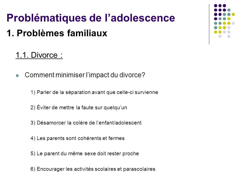 1.Problèmes familiaux 1.1. Divorce : Comment minimiser limpact du divorce.