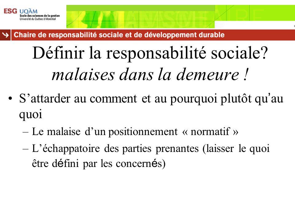 Définir la responsabilité sociale? malaises dans la demeure ! Sattarder au comment et au pourquoi plutôt qu au quoi –Le malaise dun positionnement « n