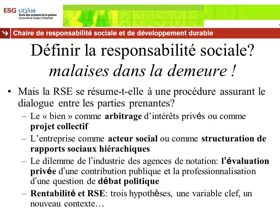 Définir la responsabilité sociale? malaises dans la demeure ! Mais la RSE se résume-t-elle à une procédure assurant le dialogue entre les parties pren