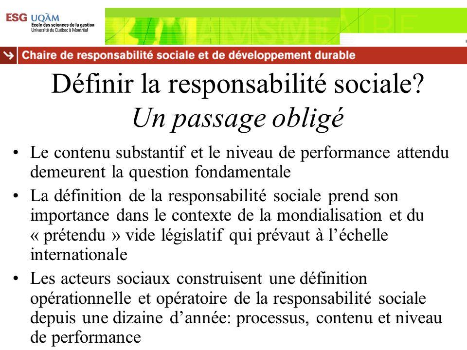 Définir la responsabilité sociale? Un passage obligé Le contenu substantif et le niveau de performance attendu demeurent la question fondamentale La d