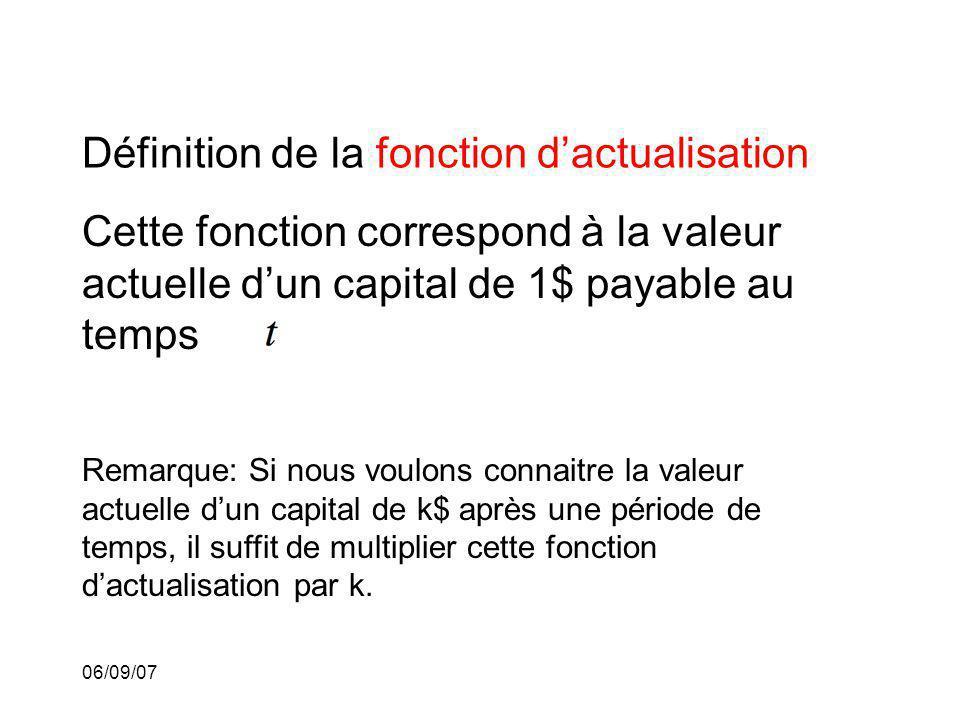 06/09/07 Définition de la fonction dactualisation Cette fonction correspond à la valeur actuelle dun capital de 1$ payable au temps Remarque: Si nous