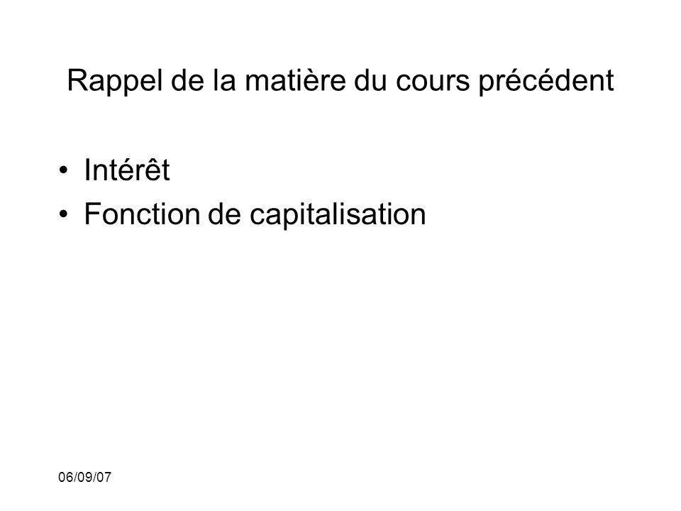 06/09/07 Rappel de la matière du cours précédent Intérêt Fonction de capitalisation