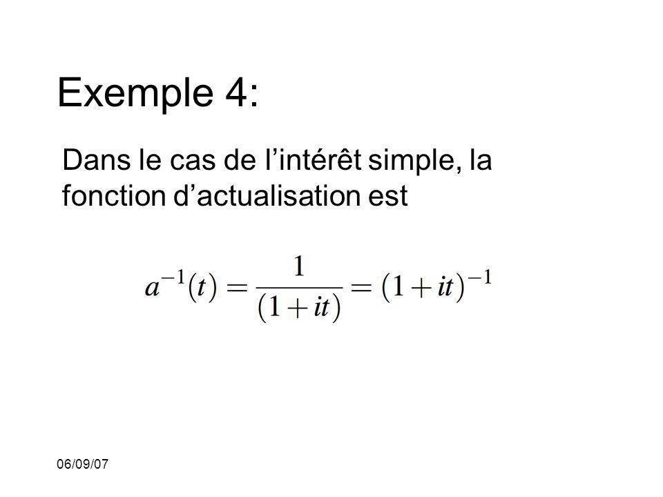 06/09/07 Exemple 4: Dans le cas de lintérêt simple, la fonction dactualisation est