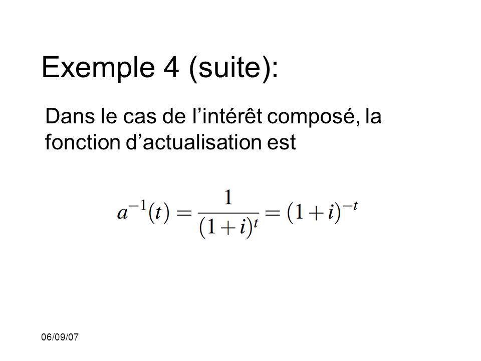 06/09/07 Exemple 4 (suite): Dans le cas de lintérêt composé, la fonction dactualisation est