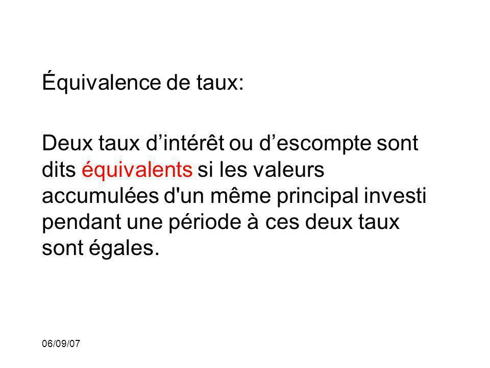 06/09/07 Équivalence de taux: Deux taux dintérêt ou descompte sont dits équivalents si les valeurs accumulées d'un même principal investi pendant une