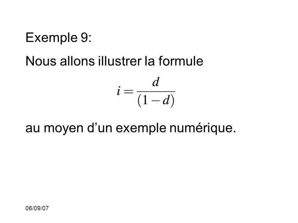 06/09/07 Exemple 9: Nous allons illustrer la formule au moyen dun exemple numérique.