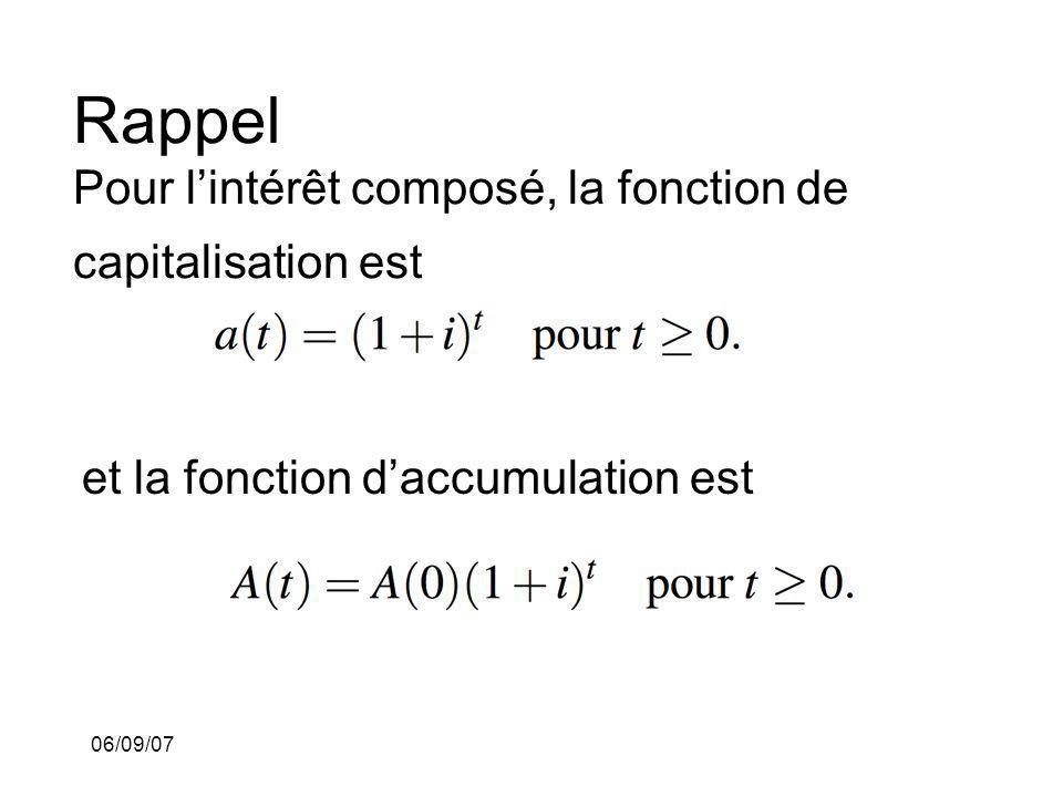 06/09/07 Rappel Pour lintérêt composé, la fonction de capitalisation est et la fonction daccumulation est