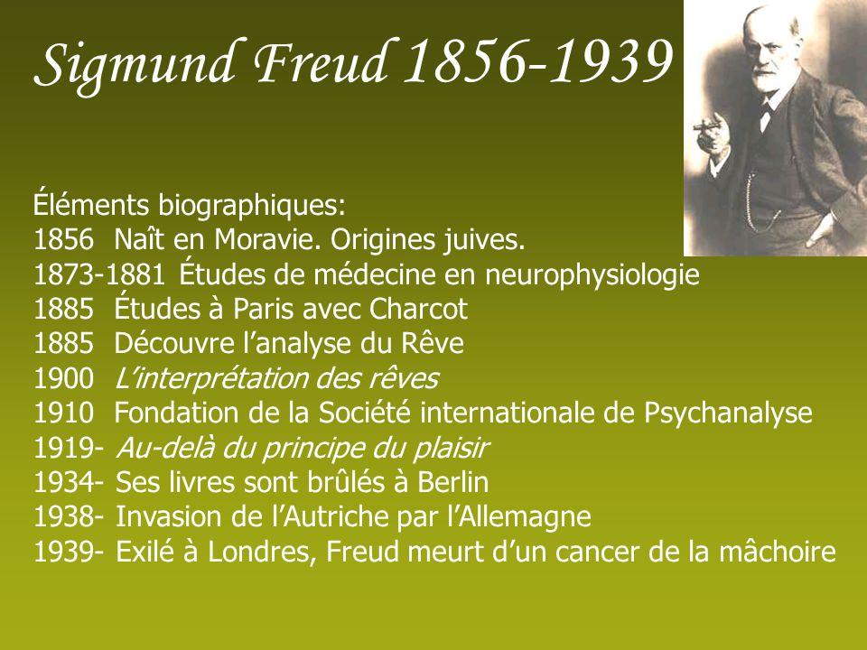 Sigmund Freud 1856-1939 Éléments biographiques: 1856 Naît en Moravie.