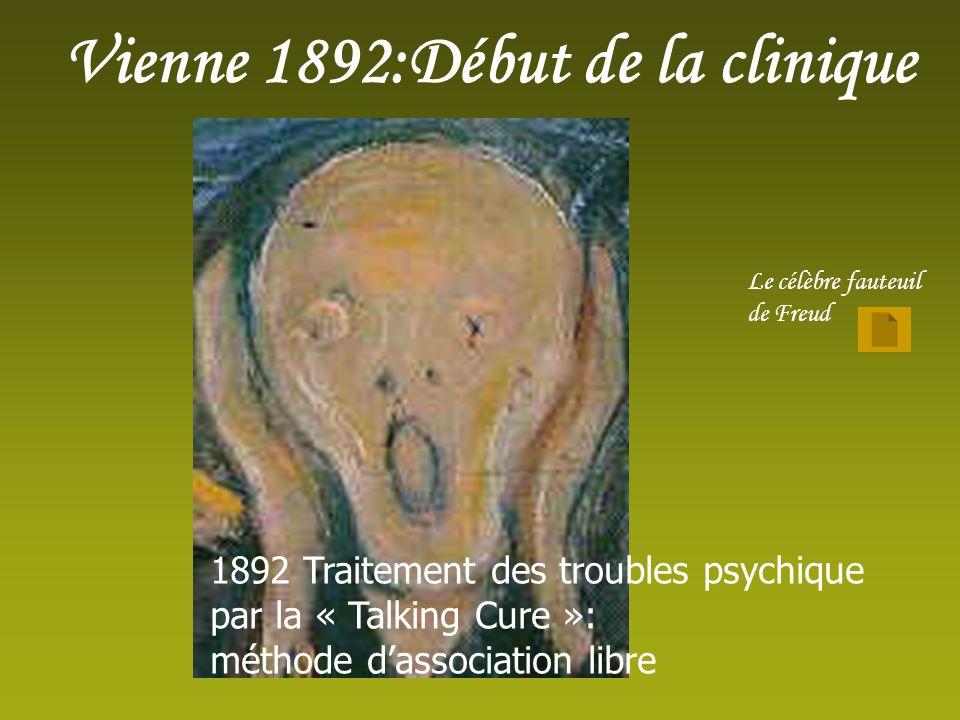 Vienne 1892:Début de la clinique Le célèbre fauteuil de Freud 1892 Traitement des troubles psychique par la « Talking Cure »: méthode dassociation libre