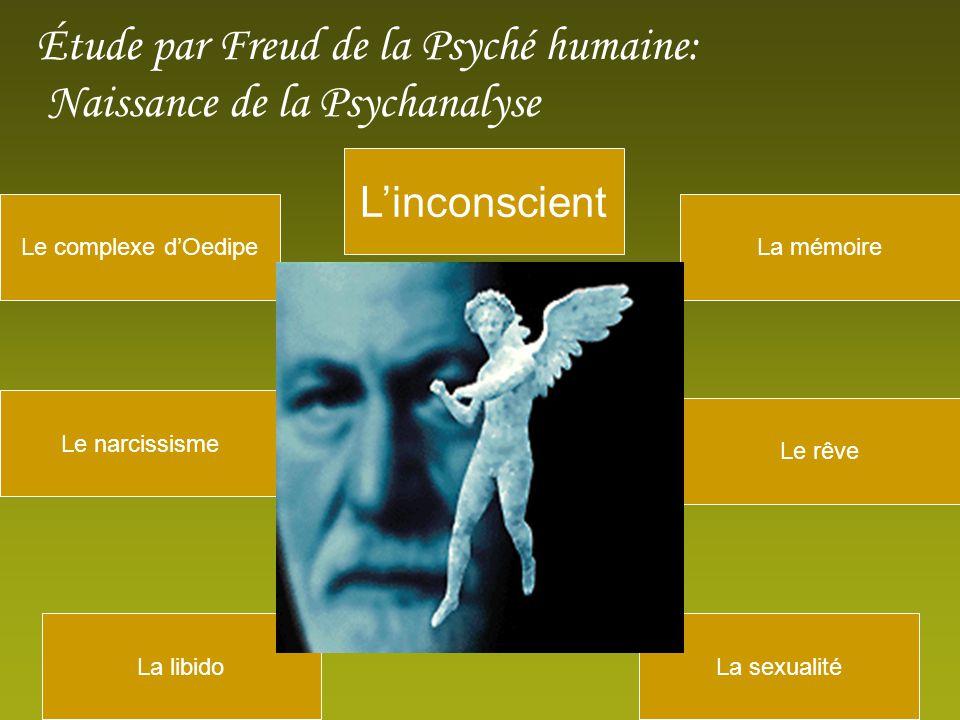 La libido Linconscient Le rêve Le narcissisme Le complexe dOedipeLa mémoire La sexualité Étude par Freud de la Psyché humaine: Naissance de la Psychanalyse