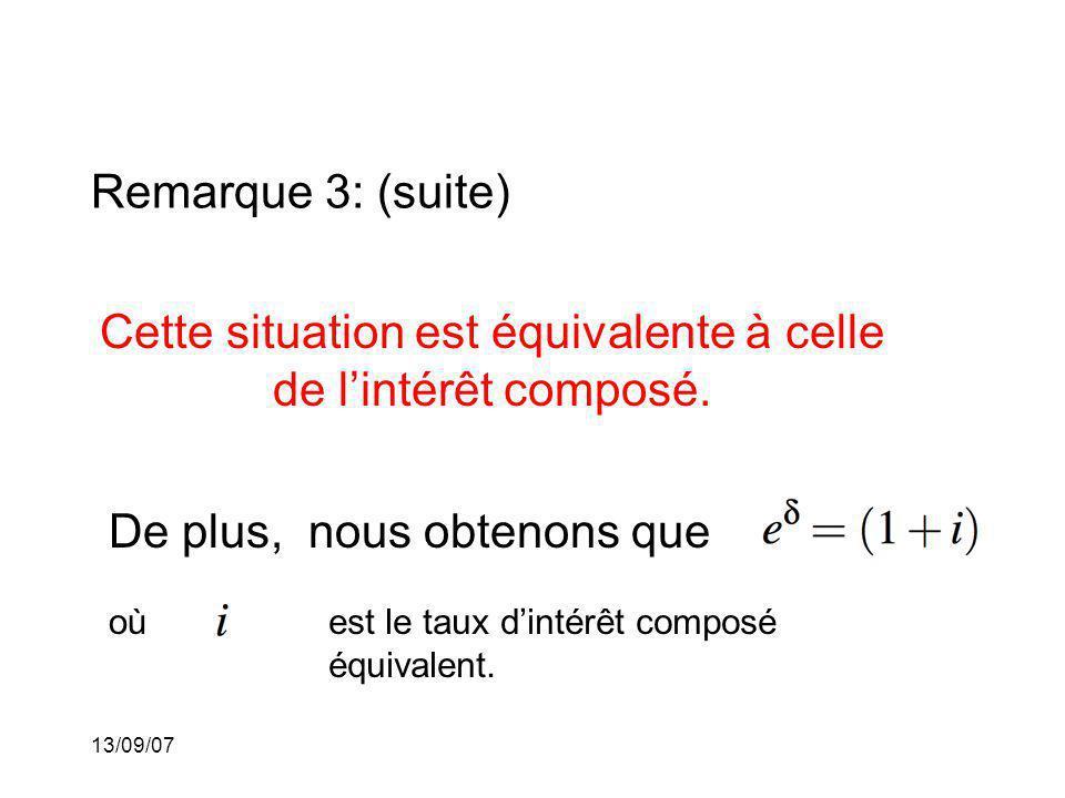 13/09/07 Remarque 3: (suite) Cette situation est équivalente à celle de lintérêt composé. De plus, nous obtenons que oùest le taux dintérêt composé éq