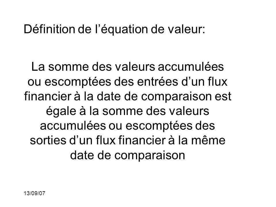 13/09/07 Définition de léquation de valeur: La somme des valeurs accumulées ou escomptées des entrées dun flux financier à la date de comparaison est