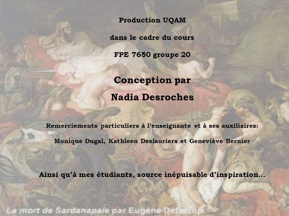 Production UQAM dans le cadre du cours FPE 7650 groupe 20 Conception par Nadia Desroches Remerciements particuliers à lenseignante et à ses auxiliaire