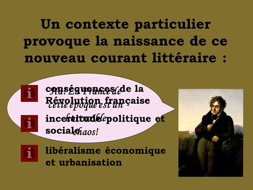Un contexte particulier provoque la naissance de ce nouveau courant littéraire : Ha! La France de cette époque est un horrrrrible chaos! conséquences