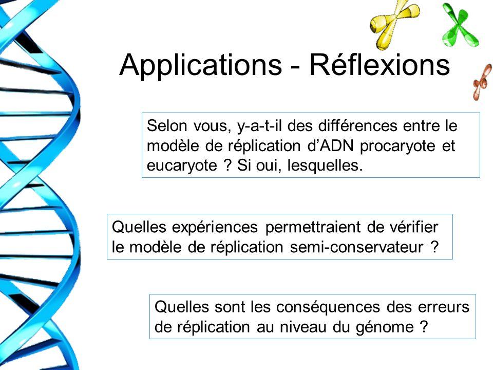 Applications - Réflexions Quelles sont les conséquences des erreurs de réplication au niveau du génome ? Quelles expériences permettraient de vérifier