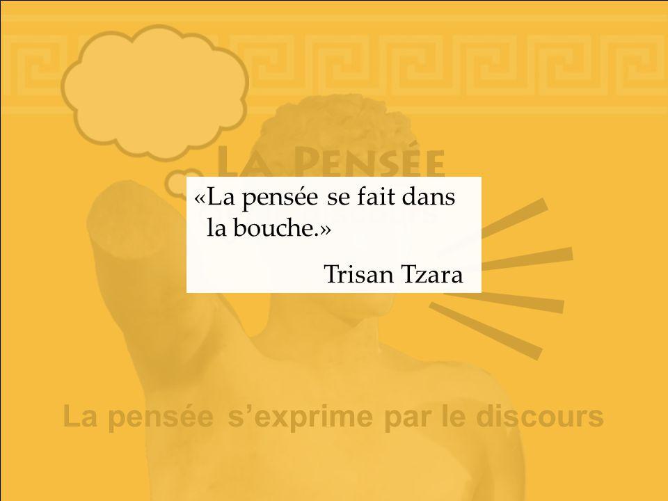 et le discours La pensée le discours sexprime par «La pensée se fait dans la bouche.» Trisan Tzara