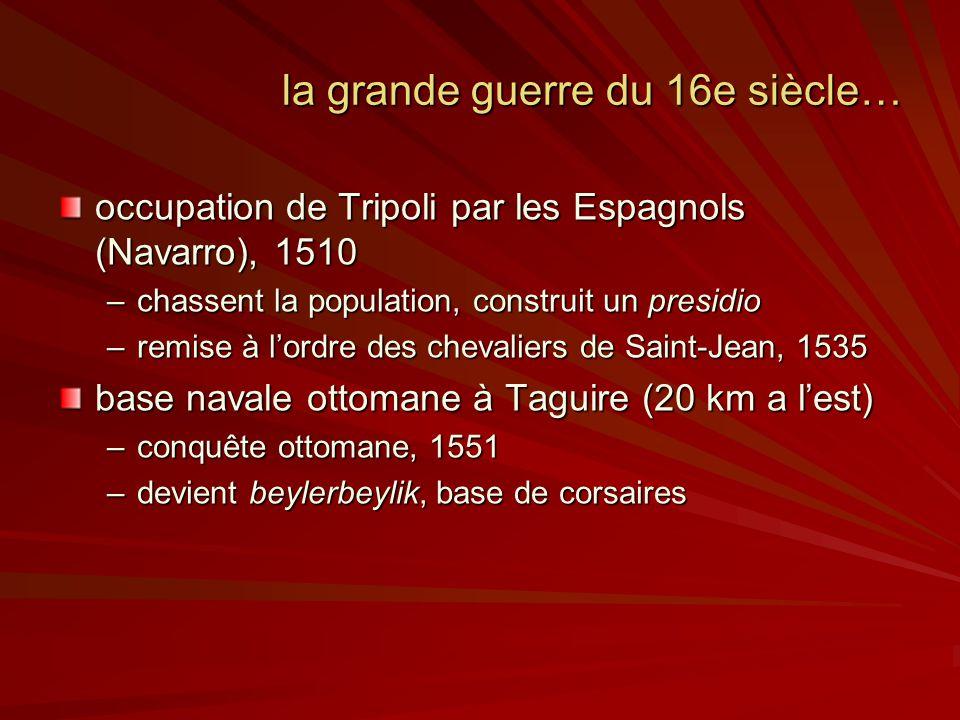 la grande guerre du 16e siècle… occupation de Tripoli par les Espagnols (Navarro), 1510 –chassent la population, construit un presidio –remise à lordre des chevaliers de Saint-Jean, 1535 base navale ottomane à Taguire (20 km a lest) –conquête ottomane, 1551 –devient beylerbeylik, base de corsaires