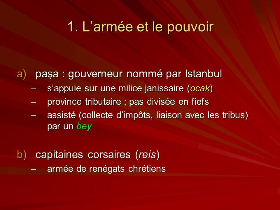 1. Larmée et le pouvoir a)paşa : gouverneur nommé par Istanbul –sappuie sur une milice janissaire (ocak) –province tributaire ; pas divisée en fiefs –