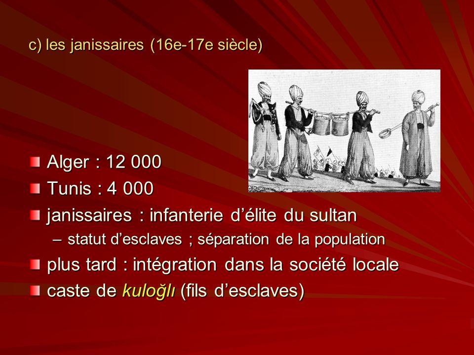 c) les janissaires (16e-17e siècle) Alger : 12 000 Tunis : 4 000 janissaires : infanterie délite du sultan –statut desclaves ; séparation de la population plus tard : intégration dans la société locale caste de kuloğlı (fils desclaves)