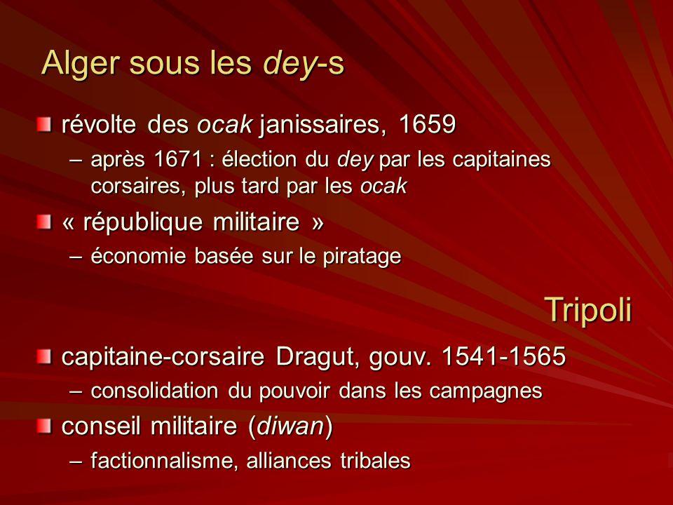 Alger sous les dey-s révolte des ocak janissaires, 1659 –après 1671 : élection du dey par les capitaines corsaires, plus tard par les ocak « république militaire » –économie basée sur le piratage capitaine-corsaire Dragut, gouv.