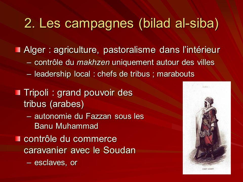 2. Les campagnes (bilad al-siba) Alger : agriculture, pastoralisme dans lintérieur –contrôle du makhzen uniquement autour des villes –leadership local