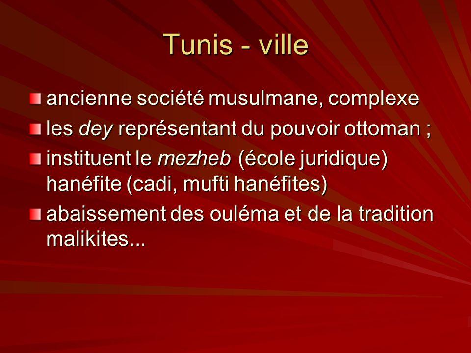 Tunis - ville ancienne société musulmane, complexe les dey représentant du pouvoir ottoman ; instituent le mezheb (école juridique) hanéfite (cadi, mufti hanéfites) abaissement des ouléma et de la tradition malikites...