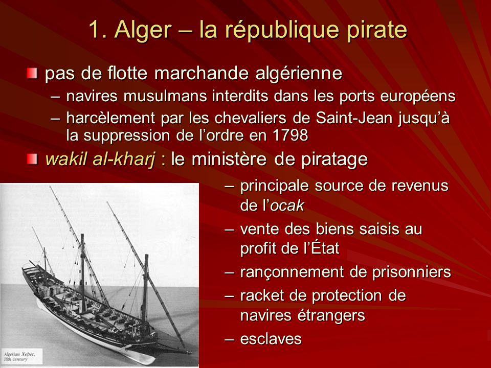 1. Alger – la république pirate –principale source de revenus de locak –vente des biens saisis au profit de lÉtat –rançonnement de prisonniers –racket