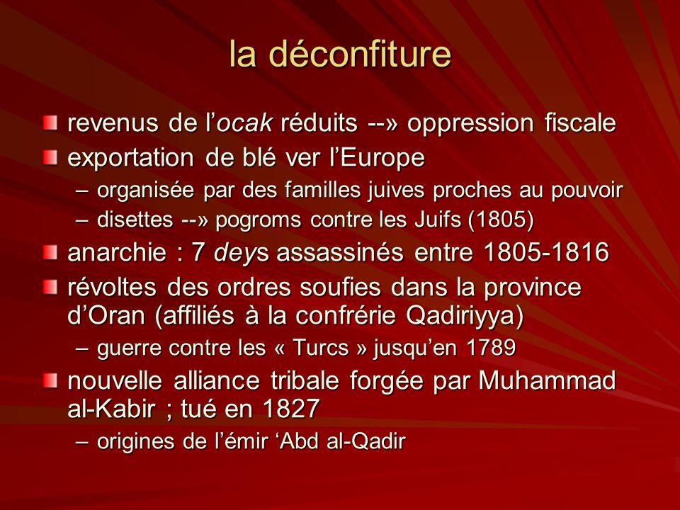 la déconfiture revenus de locak réduits --» oppression fiscale exportation de blé ver lEurope –organisée par des familles juives proches au pouvoir –disettes --» pogroms contre les Juifs (1805) anarchie : 7 deys assassinés entre 1805-1816 révoltes des ordres soufies dans la province dOran (affiliés à la confrérie Qadiriyya) –guerre contre les « Turcs » jusquen 1789 nouvelle alliance tribale forgée par Muhammad al-Kabir ; tué en 1827 –origines de lémir Abd al-Qadir