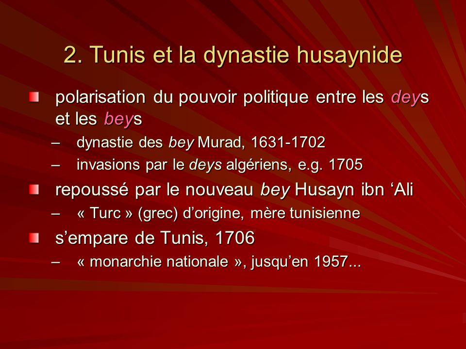 2. Tunis et la dynastie husaynide polarisation du pouvoir politique entre les deys et les beys –dynastie des bey Murad, 1631-1702 –invasions par le de