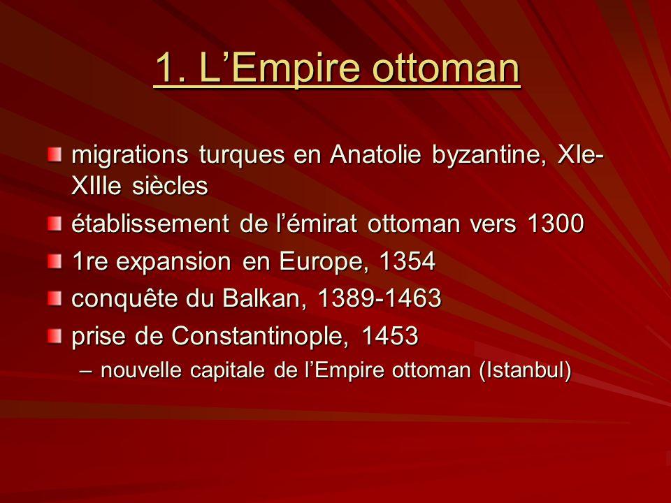 1. LEmpire ottoman migrations turques en Anatolie byzantine, XIe- XIIIe siècles établissement de lémirat ottoman vers 1300 1re expansion en Europe, 13