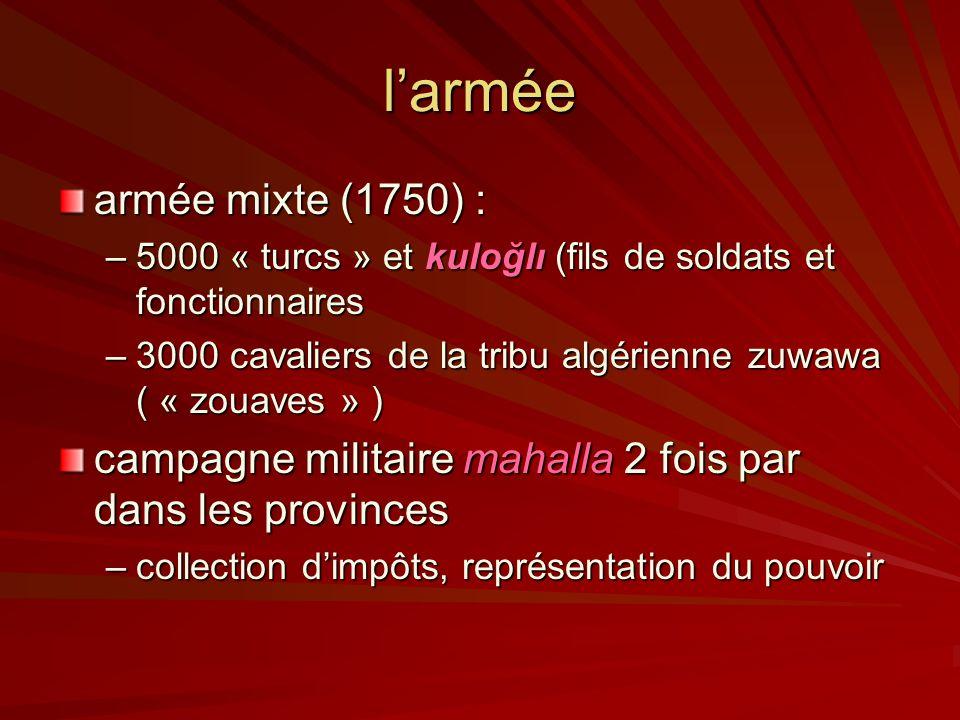 larmée armée mixte (1750) : –5000 « turcs » et kuloğlı (fils de soldats et fonctionnaires –3000 cavaliers de la tribu algérienne zuwawa ( « zouaves » ) campagne militaire mahalla 2 fois par dans les provinces –collection dimpôts, représentation du pouvoir