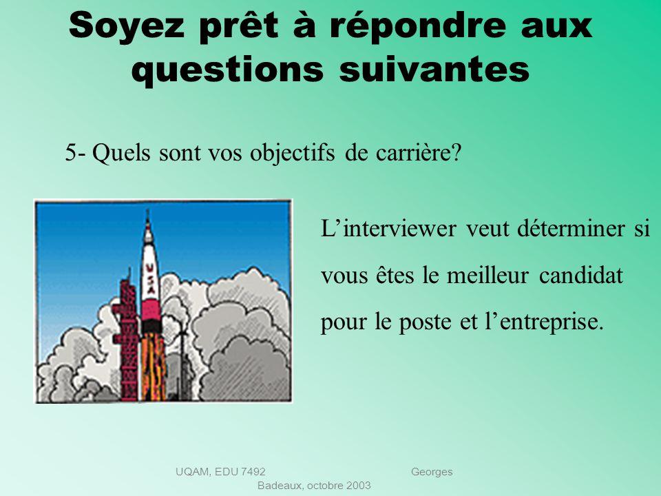 UQAM, EDU 7492 Georges Badeaux, octobre 2003 Soyez prêt à répondre aux questions suivantes Quels sont vos points à améliorer? Personne nest parfait. D