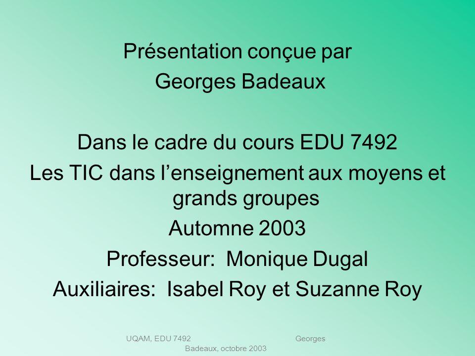 UQAM, EDU 7492 Georges Badeaux, octobre 2003 Cest à vous de jouer… Jusquoù irez-vous?