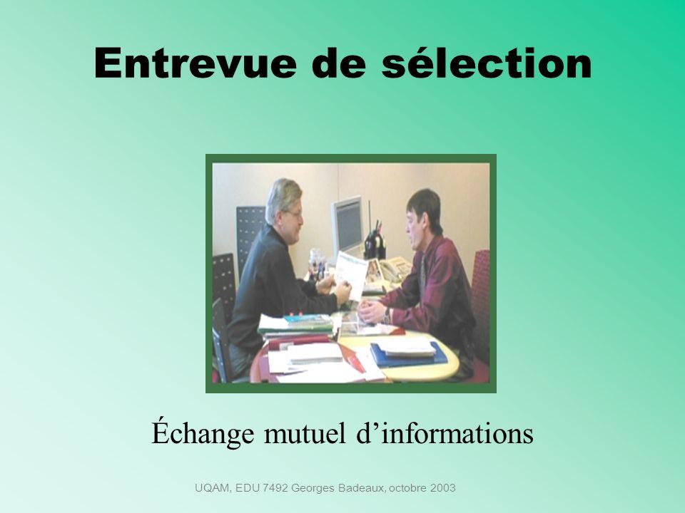 UQAM, EDU 7492 Georges Badeaux, octobre 2003 Entrevue de sélection Échange mutuel dinformations